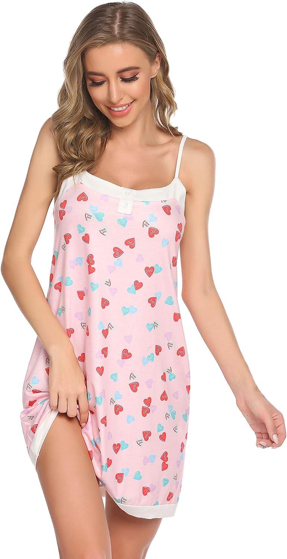 Ekouaer Women Slips Nightgown Chemise Lace Sleepwear V-Neck Sexy Lingerie Babydoll Sleep Dress