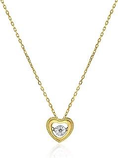 AL Liali Jewellery Women's Dancing Diamond Heart Pendant, 0.028 Carat, Yellow