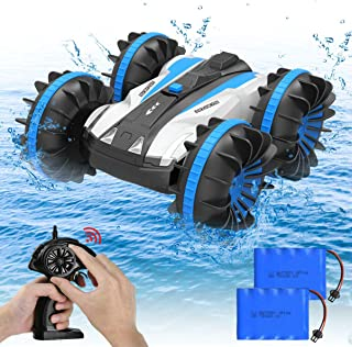 KYAMRC Waterproof RC Cars 4WD, Remote Control Car Boat Truck 2.4Ghz Double Sided Amphibious Vehicles Toys for Kids, Blue