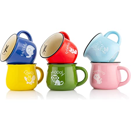 Panbado Kaffeetasse Aus Porzellan 6 Teilig Set Tassen 375 Ml 5 Zoll Kaffeepott Mehrfarbig Teetassen Bunt Modernes Design Fur Kaffee Tee Trinkwasser Amazon De