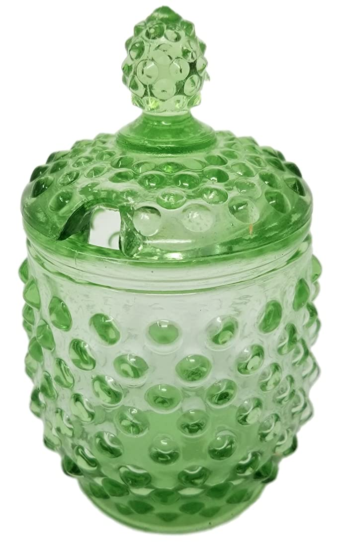 Rhyne and Son Reproduction Hobnail Glass Sugar Jar with Lid Opening (Green) fbwvkvbv2