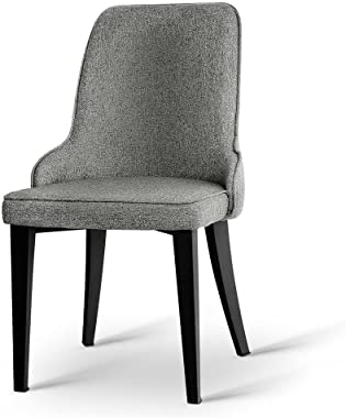 Artiss 4 x Domus Dining Chairs Fabric Upholstered Seat Steel Legs - Grey