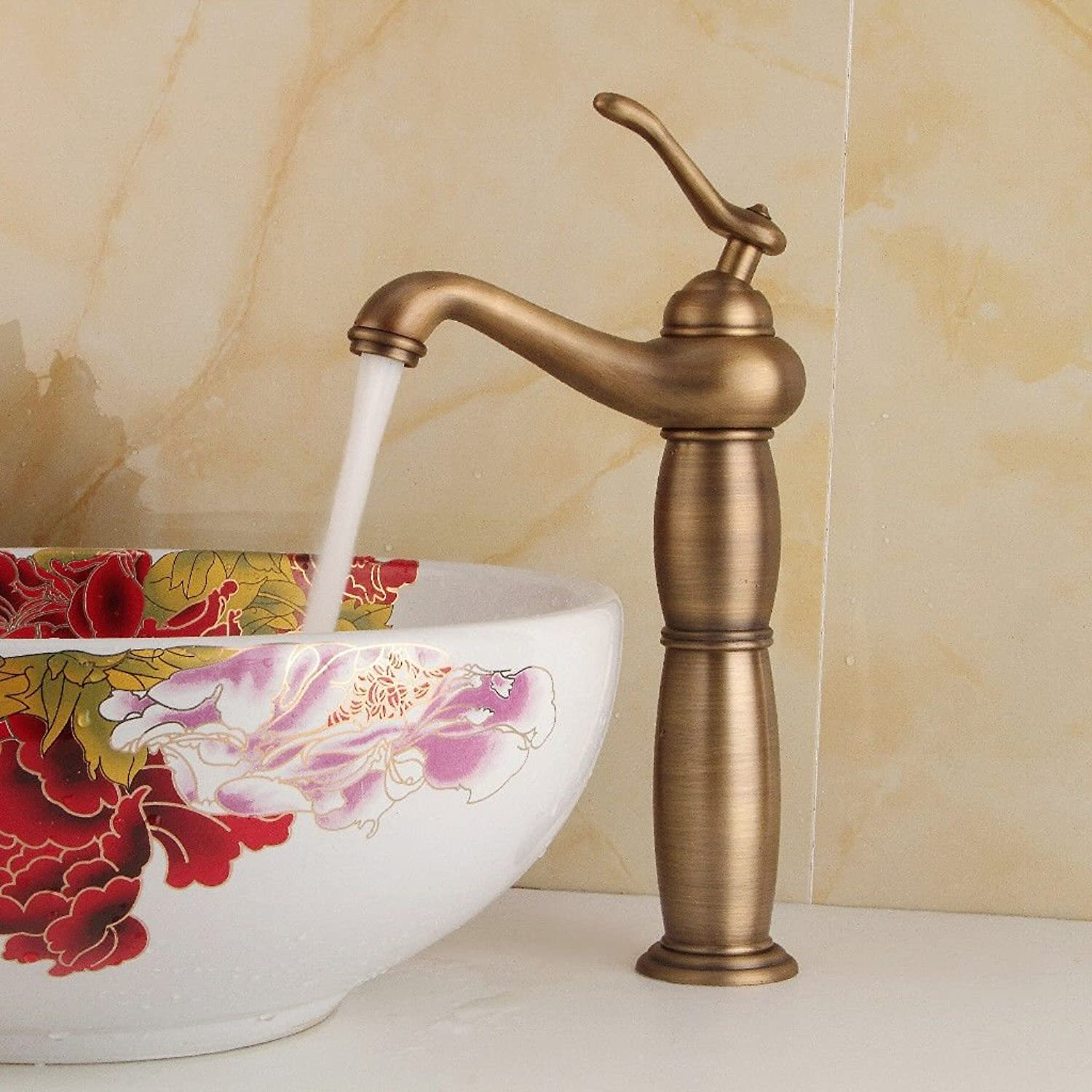 AQMMi Basin Taps Bathroom Sink Faucet Hot and Cold Water Brass Retro Bathroom Sink Faucet Basin Mixer Tap