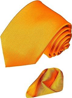 Lorenzo Cana - Marken Set aus 100% Seide : Krawatte mit Einstecktuch - orange einfarbiges Einstecktuch - 8424601
