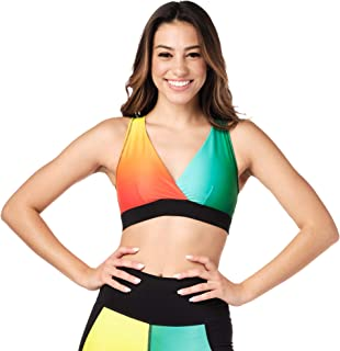 Zumba Women's V Neck Style Compression Dance Workout High Impact Sports Bra