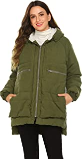 Beyove Womens Winter Zip Front Down Jackets Hooded Warm Coats Thickened Parkas with Four Big Pockets(S-XXL)