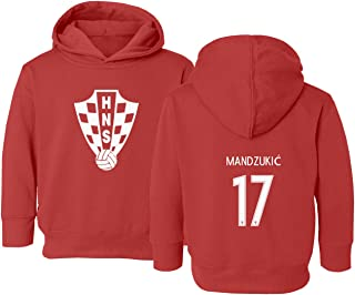 Croatia 2018 National Soccer #17 Mario MANDZUKIC World Championship Little Kids Girls Boys Toddler Hooded Sweatshirt