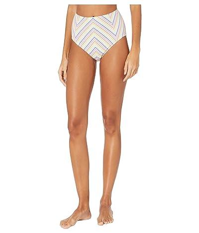Kate Spade New York Beach Stripe Seersucker High-Waist Bikini Bottoms (White) Women
