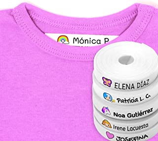 100 Personalised Iron-on White Fabric Labels to Mark Your Clothes with Colorful Icons. Gentle with Your Kids Skin, for Children's School Uniform. Fantasy Icons
