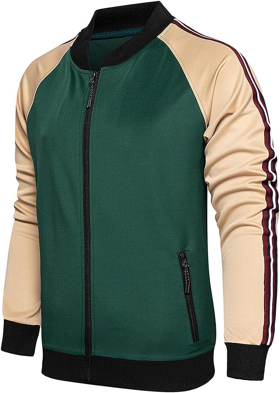 JSPOYOU Mens 2 Piece Tracksuit Varsity Baseball Jacket Uniform Suits Sweatshirt & Jogger Sweatpant Set Slim Fit Sportswear