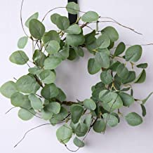idyllic Eucalyptus Leaves Wreath Metal Polyester Fabric Paper Round Green Wreath 16 Inches for The Front Door Décor, 1 Pack