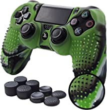 PS4 Controller Grips,Pandaren Studded Anti-Slip Silicone Cover Skin Set Compatible for PS4 /Slim/PRO Controller(CamouGreen Controller Skin x 1 + FPS PRO Thumb Grips x 8)