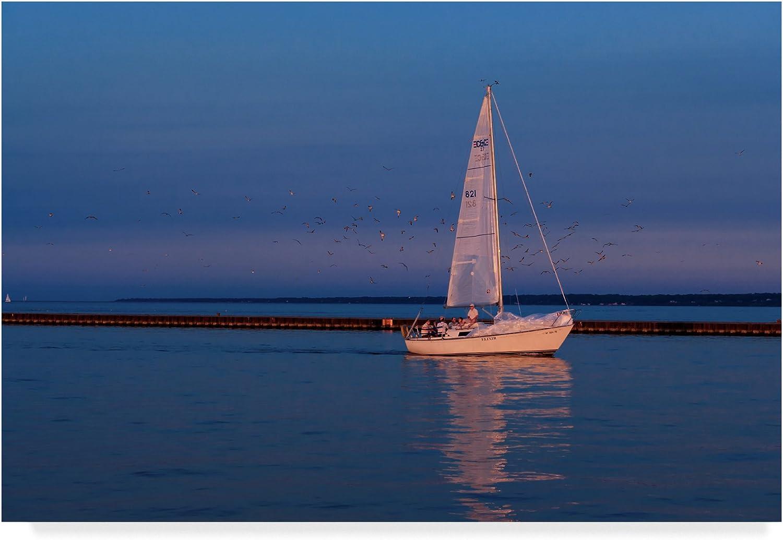 Sailboat And Seagulls At Dusk by Anthony Paladino, 12x19Inch