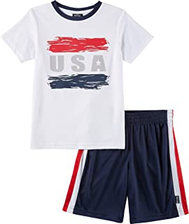 Boys Athletic Graphic Crewneck T Shirt Short Seeve Top and Shorts Gym Set