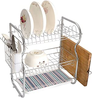 Stainless Steel 3-Tier Dish Drainer Rack Native American Kitchen Drying Drip Tray Cutlery Holder Ethnic Seamless Ikat Style Pattern Chevron Zig Zag Lines,Blue Pale Grey Dark Coral,Storage Space Saver