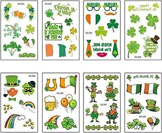 Debispax 8Pack Shamrock Tattoo St Patricks Day Temporary Stickers Irish Clover Leprechauns Tattoo Decorations Accessories