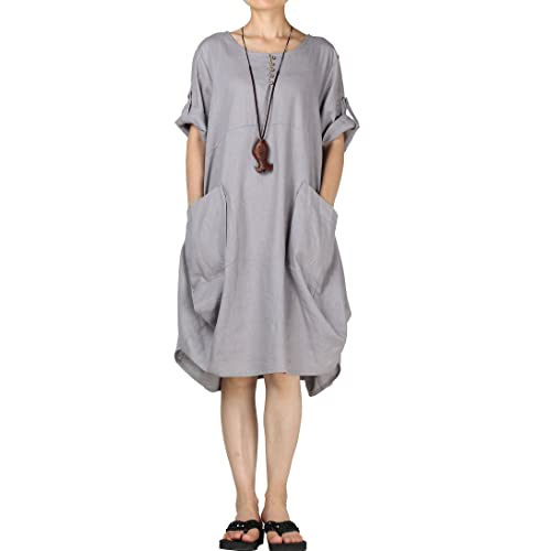ee5a09aa497 Mordenmiss Women s Cotton Linen Dresses Summer Roll-up Sleeve Baggy  Sundress with Pockets