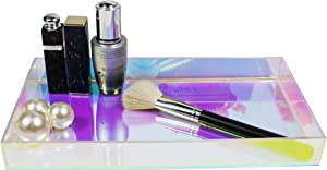 Iridescent Serving Tray, Aurora Acrylic Platter Dressing Room Bathroom Sink Vanity Tray, Cosmetic Perfume Makeup Organizer Tray Coffee Table Tray (Medium)