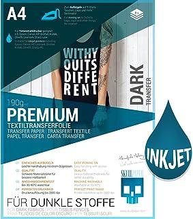 SKULLPAPER película de transferencia textil/para tejidos OSCUROS Y DE COLOR A4 / incl. más de 200 plantillas de motivos - papel transfer/para plotter de inyección de tinta (8 hojas)