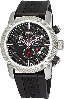 Burberry Sport Swiss Chronograph Watch Unisex Men Women Black Rubber Silicone Black Date Dial BU7700
