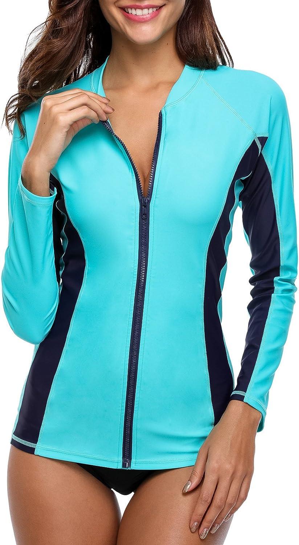 ATTRACO Women's Rashguard Swimsuit Zip Front Sun Protection Swim Shirt UPF 50+