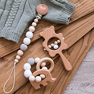 Biter teether 3pcs Wooden Nursing Accessories Set Safe and Natural Elephant Teether Beads Ring Crochet Beads Universal Pac...