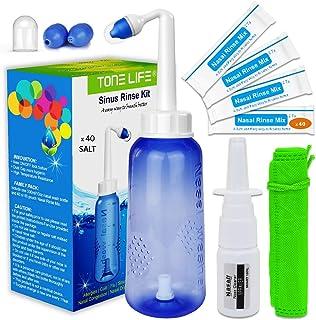 TONELIFE Sinus Rinse Kit 300ml+40Packets Nasal Salt - Nasal Wash + Saline Nasal Care Refills - Nose Cleaner - Neti Pot wit...