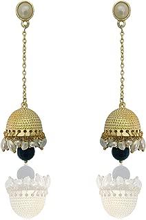 Moonstruck Traditional Long Indian Jhumka Jhumki Golden Dangle Earrings With Pearl For Women