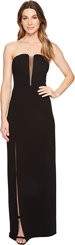 Halston Heritage Strapless Deep V-Neck Fitted Gown