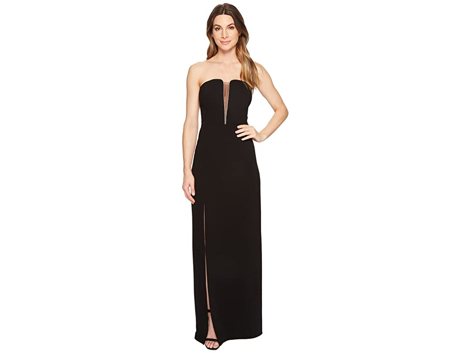 Halston Heritage Strapless Deep V-Neck Fitted Gown (Black) Women