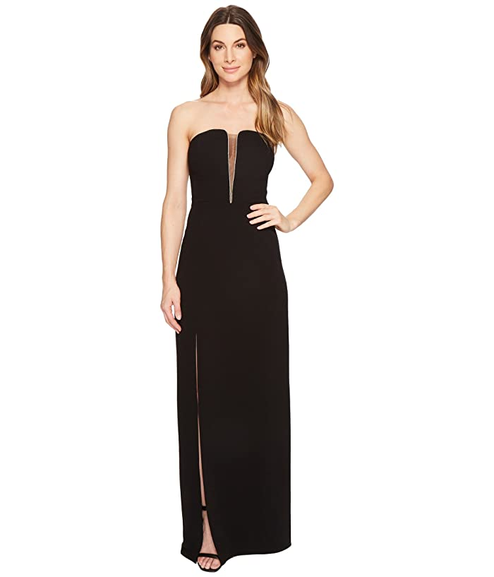 Strapless Deep V Neck Fitted Gown by Halston Heritage