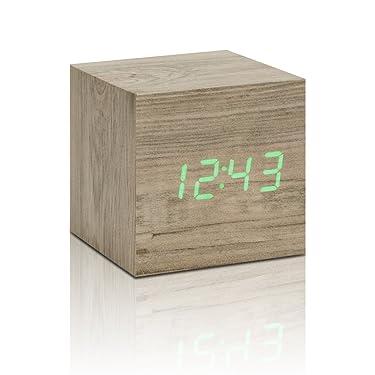 "Gingko Cube Click Clock 2.5"" x 2.5"" Time/Date/Temp Ash/ Green LED Alarm Clock"