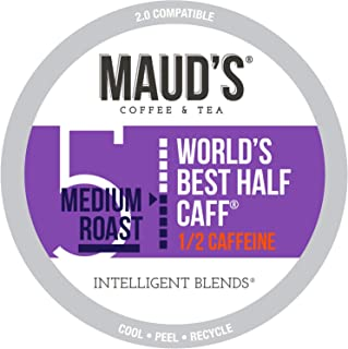 Maud's Half Caff Coffee (World's Best Half Caff), 100ct. Recyclable Single Serve Coffee Pods – Richly satisfying arabica beans California Roasted, k-cup compatible including 2.0