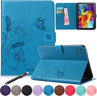 Galaxy Tab 4 10.1 Case, Newshine PU Leather Embossed Folio Smart Stand Case with Card Slots&[Auto Wake/Sleep] [Magnetic Cl...
