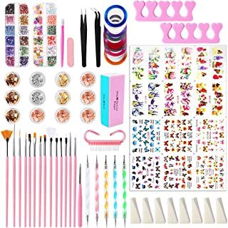 Nail Art Brush Kit, Mukum 72PCS Nail Art Tool Nail Pen Designer Painting Brushes Dotting Tool, Holographic Nail Glitter St...