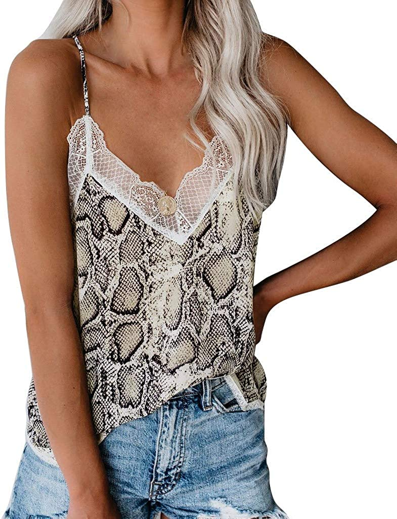 aihihe Women's Sexy V Neck Sleeveless Lace Cami Tank Tops Summer Casual Halter Camisole Blouses