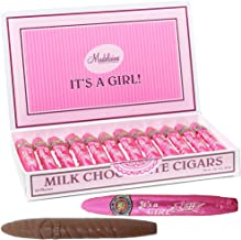 Madelaine Premium Milk Chocolate Cigars - It's a Girl Baby Shower Favors Gift Box - Individually Wrapped In Pink Italian Foils (24 Cigars)