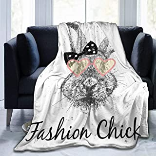 """Fleece Blanket 50"""" x 60""""-Cute Rabbit Print Home Flannel Fleece Soft Warm Plush Throw Blanket for Bed/Couch/Sofa/Office/Camping"""