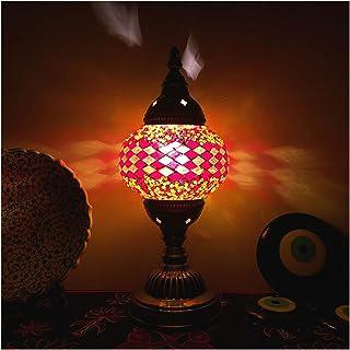 Lampes Table Lampe de table de style turc Vintage artisanat, abat-jour en verre teinté, veilleuse en métal pour chambre à ...