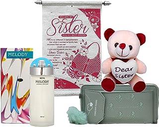 Saugat Traders Rakhi Gift for Sister - Scroll Card, Branded Perfume, Soft Toy & Women's Wallet - Gift for Sis On Rakshaban...