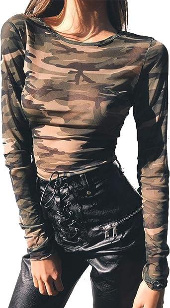 Camisas Transparentes De Camuflaje Camisa De Manga Larga ...
