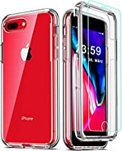 COOLQO Compatible for iPhone 8 Plus/iPhone 7 Plus/iPhone 6S/6 Plus Case, with [2 x Tempered Glass Screen Protector] Clear ...