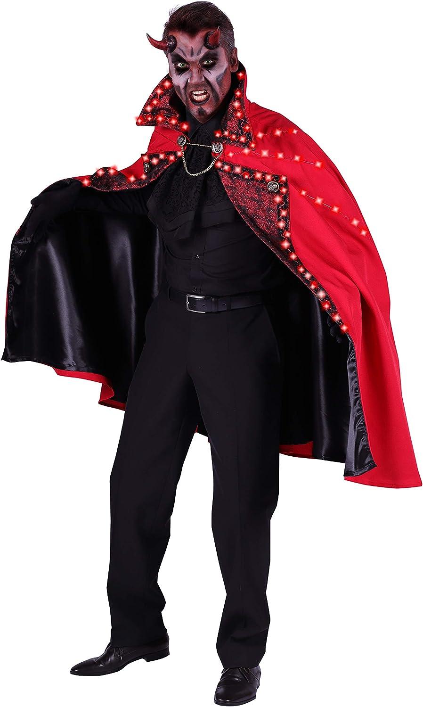 Jannes Thetru 2657, Cape LED 'Teufel' Halloween, Herren-Kostüm Umhang Teufel Draculacape