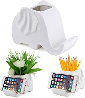 Ceramic Pencil Holder,desktop Stationery Box Organizer,Mobile phone bracket (elephant)