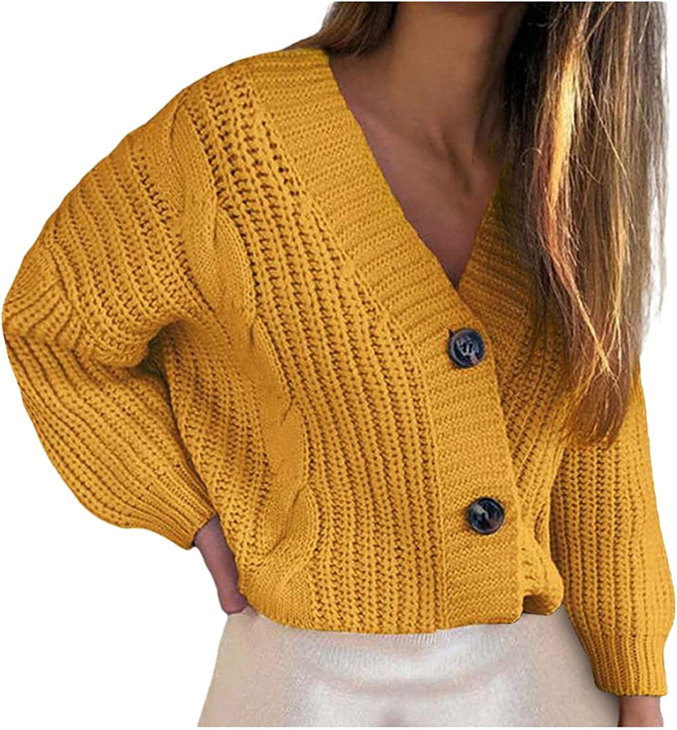 Womens Sweaters Button Down Solid Color Cardigan Autumn V Neck Casual Coat Fashion Long Sleeve Outerwear