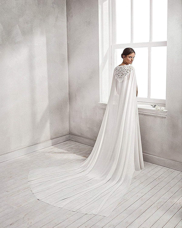 yeoyaw Bridal Cape Wedding Veil White Ivory Cathedral Length Wedding Cloak Lace Top Cloak