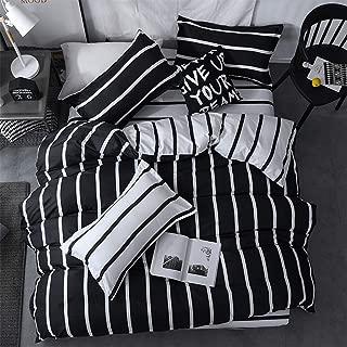 LAMEJOR Duvet Cover Set Queen Size Simplicity Black and White Striped Pattern Reversible Bedding Set Comforter Cover (1 Duvet Cover+2 Pillowcases)