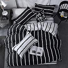 LAMEJOR Duvet Cover Set Queen Size Simplicity Black and White Striped Pattern Reversible Luxury Soft Bedding Set Comforter Cover (1 Duvet Cover+2 Pillowcases)