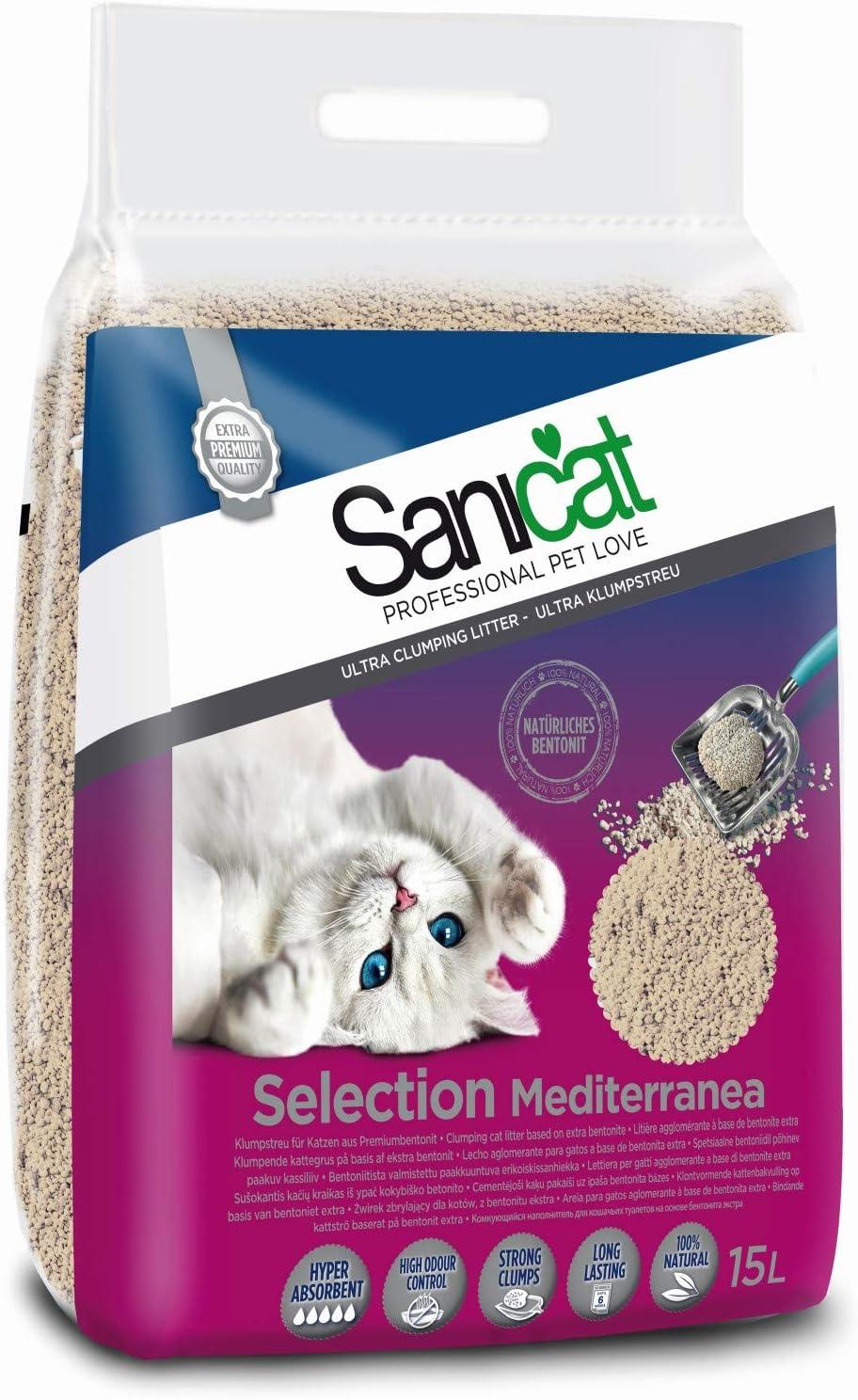 Sanicat Select Mediterranea Arena de Gatos Ultra Aglomerante - 15L