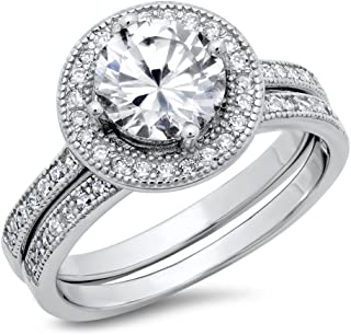 Metal Factory Sterling Silver Cubic Zirconia Halo 3.3 Carat tw Round Brilliant Cut CZ Wedding Engagement Ring Set